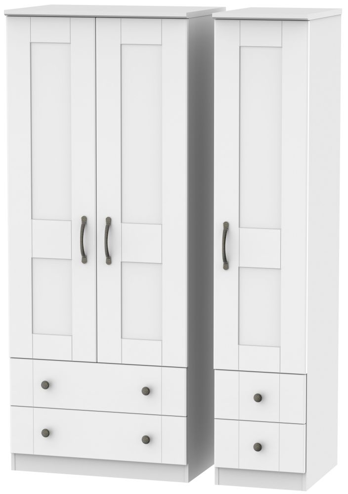 Kingston White Triple Wardrobe with Drawer