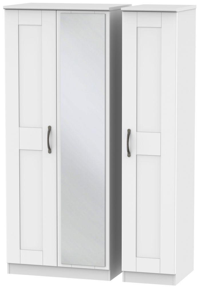 Kingston White Triple Wardrobe with Mirror
