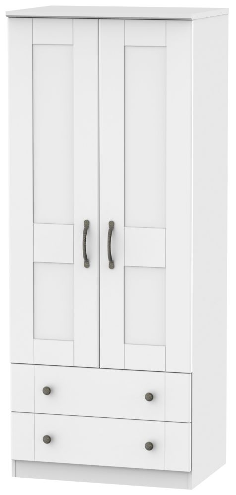 Kingston White Wardrobe - 2ft 6in with 2 Drawer