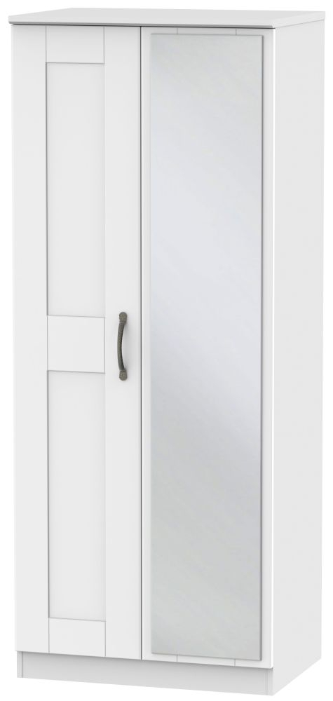 Kingston White Wardrobe - 2ft 6in with Mirror