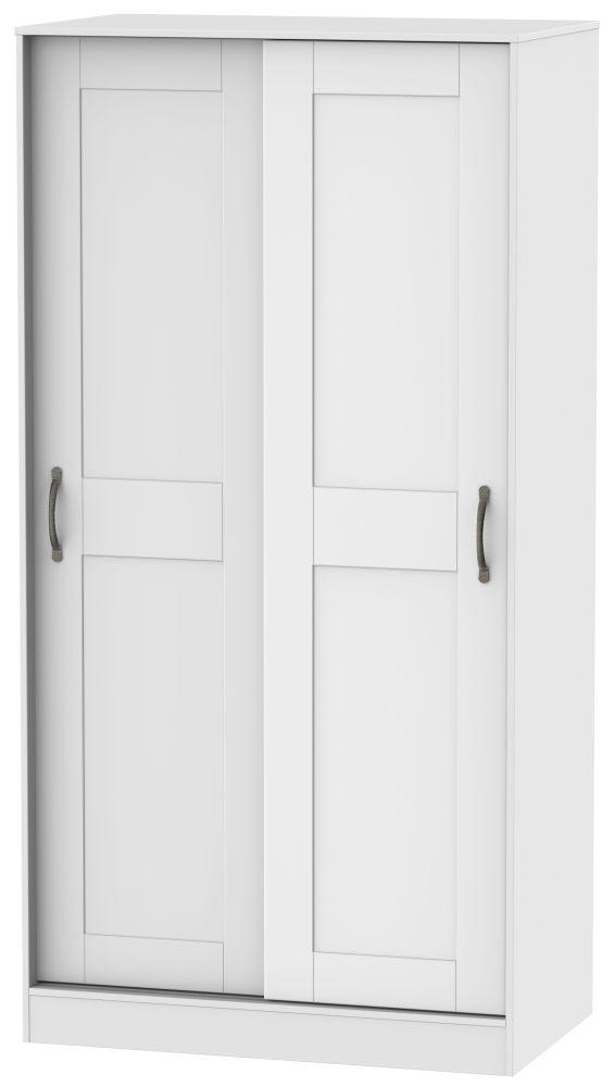 Kingston White Sliding Wardrobe - 100cm Wide