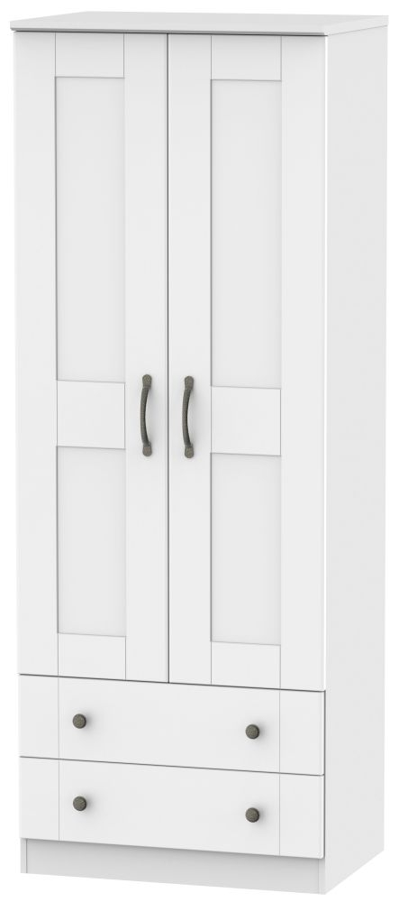Kingston White Wardrobe - Tall 2ft 6in with 2 Drawer