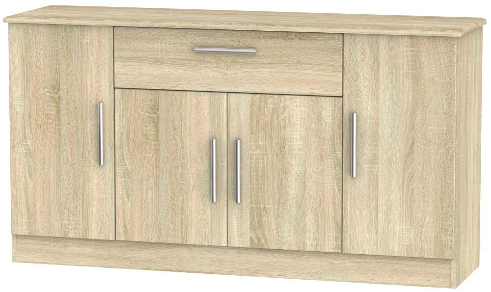 Knightsbridge Bardolino 4 Door 1 Drawer Wide Sideboard