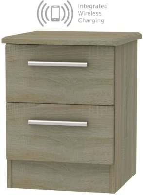 Knightsbridge Darkolino 2 Drawer Bedside Cabinet with Integrated Wireless Charging
