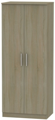 Knightsbridge Darkolino 2 Door Plain Wardrobe