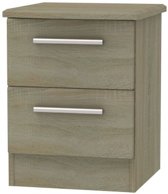 Knightsbridge Darkolino 2 Drawer Locker Bedside Cabinet