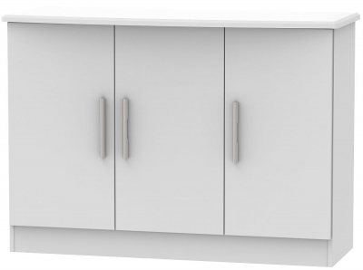 Knightsbridge Grey Matt 3 Door Narrow Sideboard