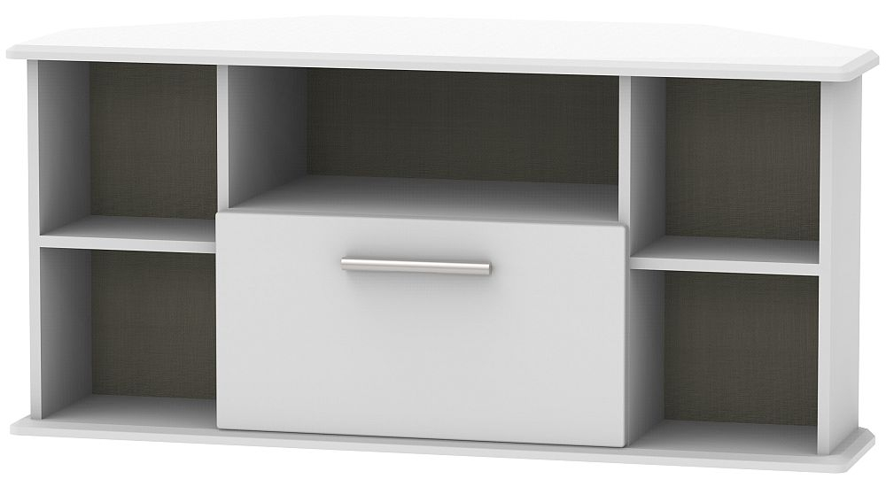 Knightsbridge Grey Matt 1 Drawer Corner TV Unit