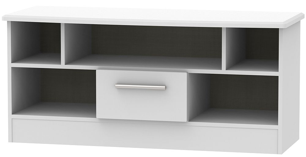 Knightsbridge Grey Matt 1 Drawer Open TV Unit