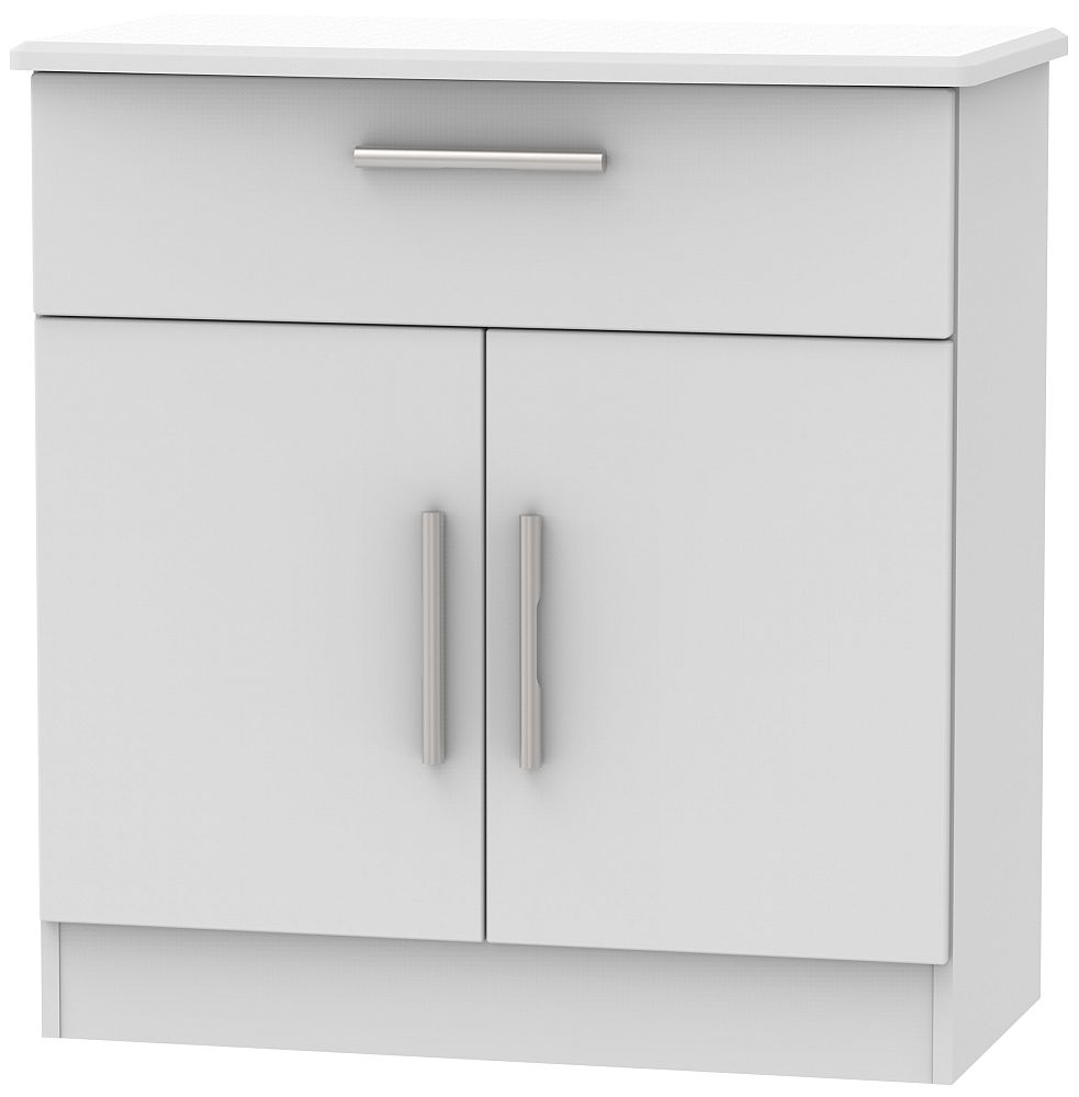 Knightsbridge Grey Matt 2 Door 1 Drawer Narrow Sideboard