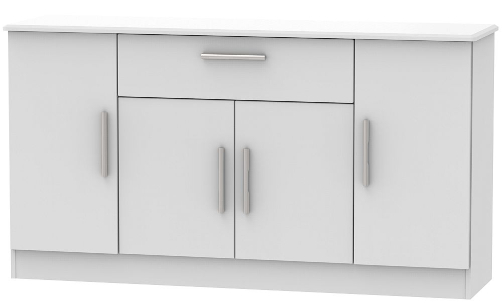 Knightsbridge Grey Matt 4 Door 1 Drawer Wide Sideboard