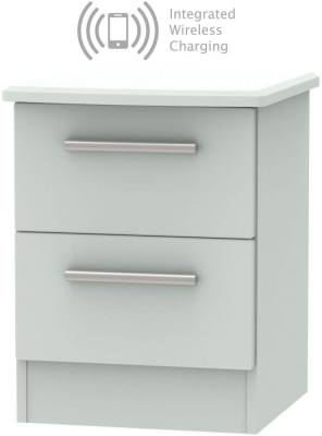 Knightsbridge Grey Matt 2 Drawer Bedside Cabinet with Integrated Wireless Charging