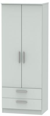 Knightsbridge Grey Matt 2 Door 2 Drawer Tall Wardrobe