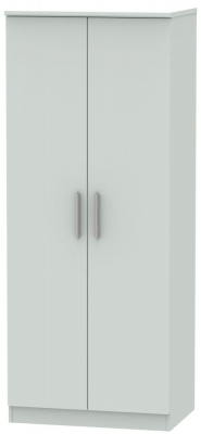 Knightsbridge Grey Matt 2 Door Plain Wardrobe