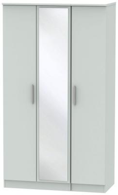 Knightsbridge Grey Matt 3 Door Tall Mirror Wardrobe