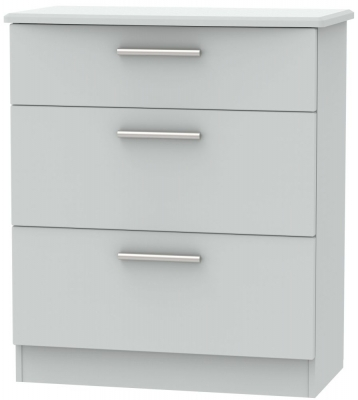 Knightsbridge Grey Matt 3 Drawer Deep Chest