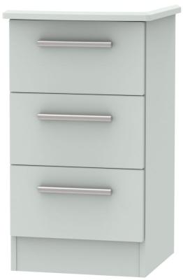Knightsbridge Grey Matt 3 Drawer Bedside Cabinet