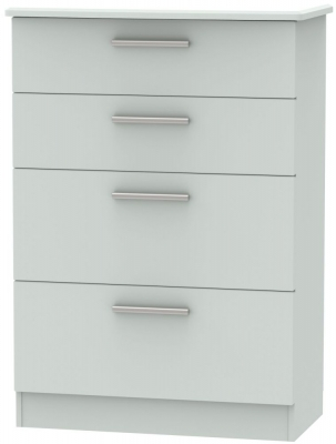 Knightsbridge Grey Matt 4 Drawer Deep Chest