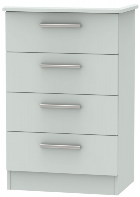 Knightsbridge Grey Matt 4 Drawer Midi Chest
