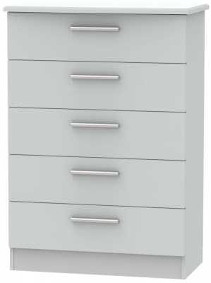 Knightsbridge Grey Matt 5 Drawer Chest