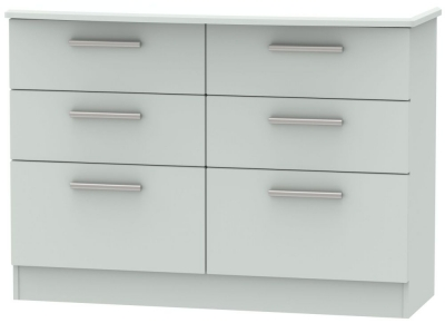 Knightsbridge Grey Matt 6 Drawer Midi Chest