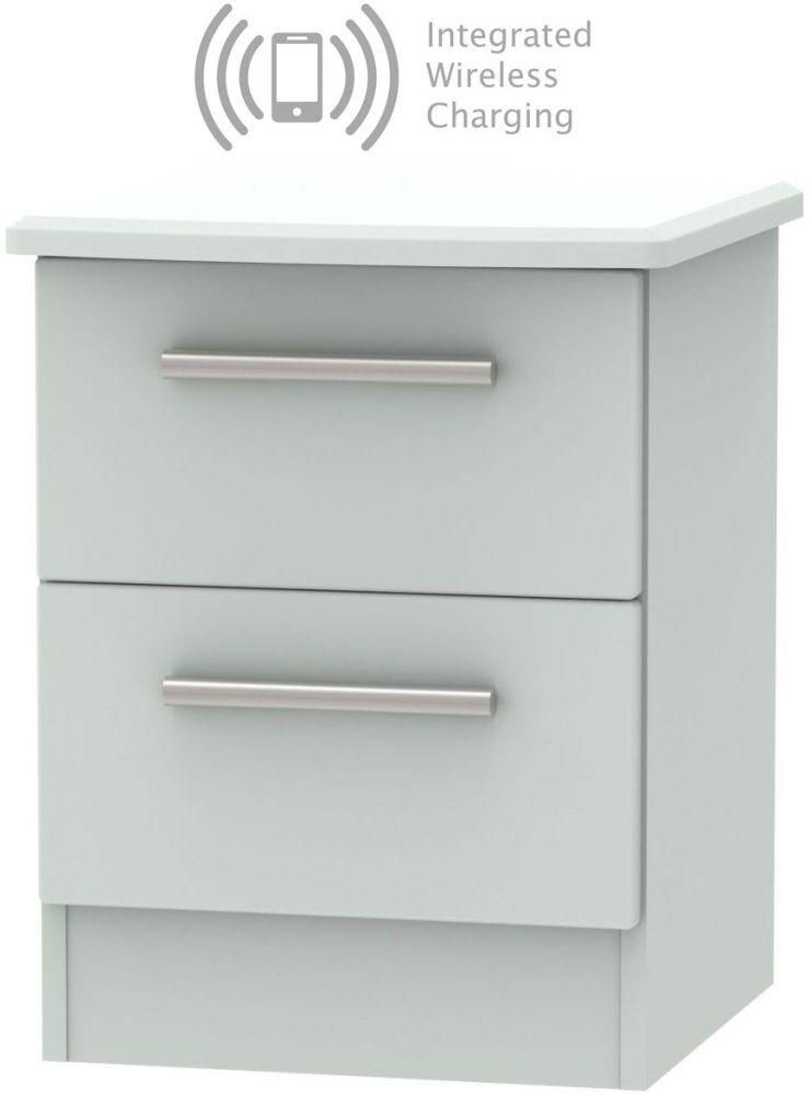 Knightsbridge Grey Matt 2 Drawer Bedside Cabinet with Integrated Wireless Charging