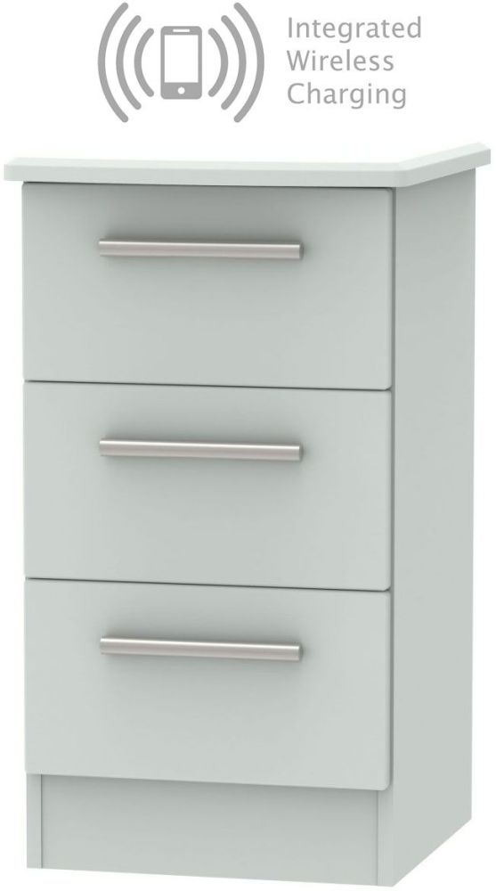 Knightsbridge Grey Matt 3 Drawer Bedside Cabinet with Integrated Wireless Charging