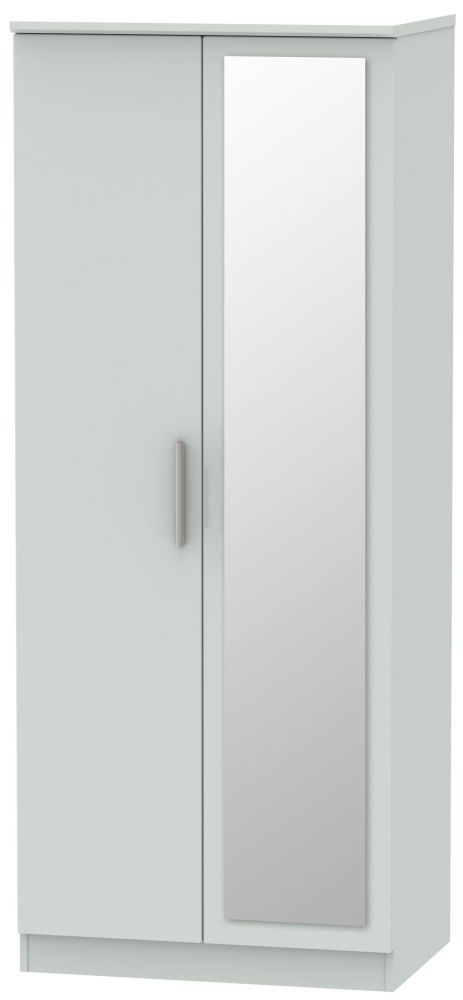 Knightsbridge Grey Matt 2 Door Mirror Wardrobe