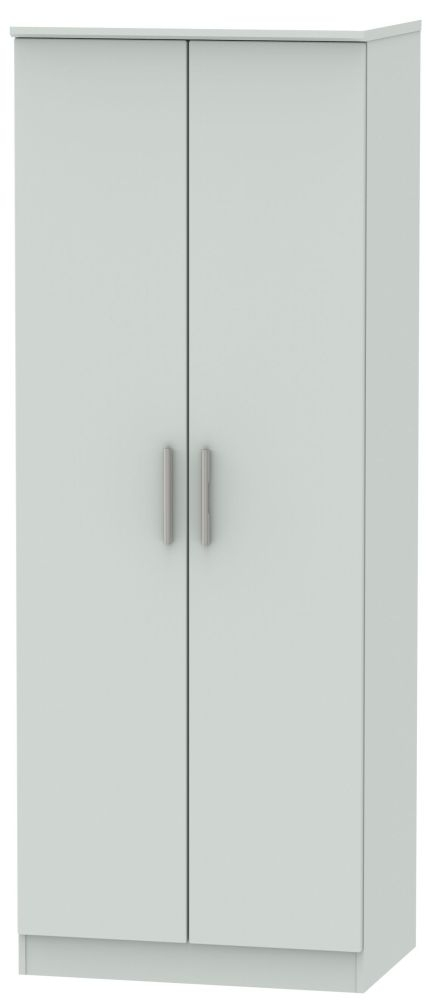 Knightsbridge Grey Matt 2 Door Tall Wardrobe