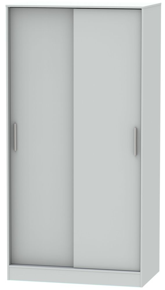 Knightsbridge Grey Matt 2 Door Sliding Wardrobe
