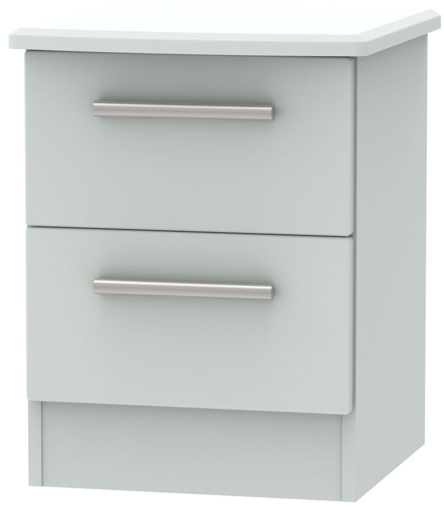 Knightsbridge Grey Matt 2 Drawer Bedside Cabinet
