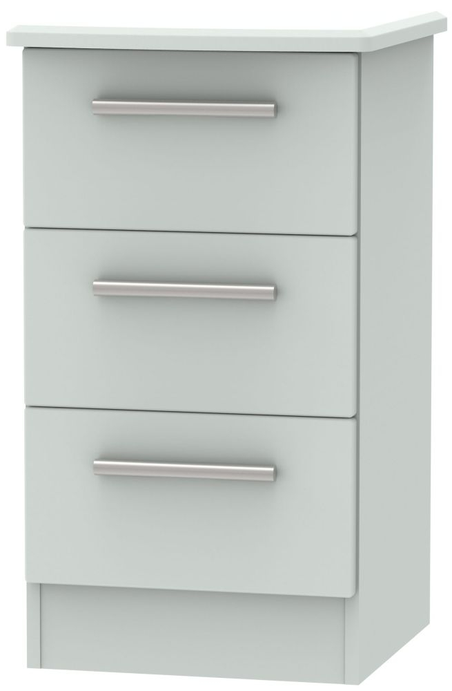 Knightsbridge Grey Matt 3 Drawer Locker Bedside Cabinet