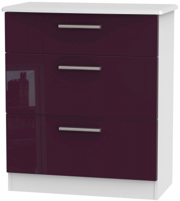 Knightsbridge High Gloss Aubergine and White Chest of Drawer - 3 Drawer Deep
