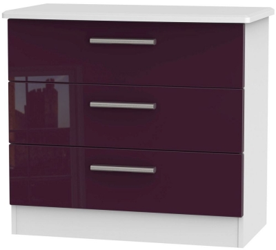 Knightsbridge High Gloss Aubergine and White Chest of Drawer - 3 Drawer