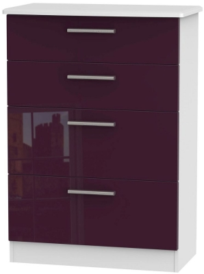Knightsbridge High Gloss Aubergine and White Chest of Drawer - 4 Drawer Deep