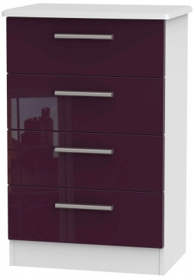 Knightsbridge High Gloss Aubergine and White Chest of Drawer - 4 Drawer Midi