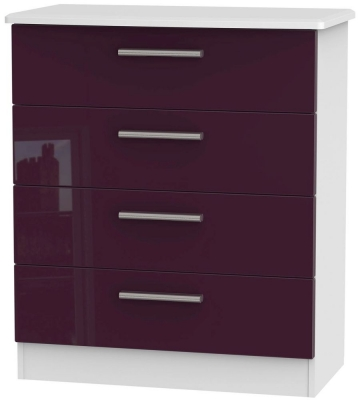 Knightsbridge High Gloss Aubergine and White Chest of Drawer - 4 Drawer