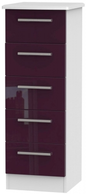 Knightsbridge High Gloss Aubergine and White Chest of Drawer - 5 Drawer Locker