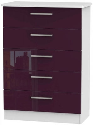 Knightsbridge High Gloss Aubergine and White Chest of Drawer - 5 Drawer