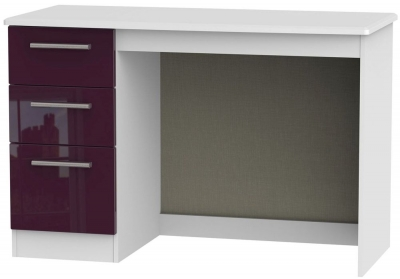 Knightsbridge High Gloss Aubergine and White Desk - 3 Drawer