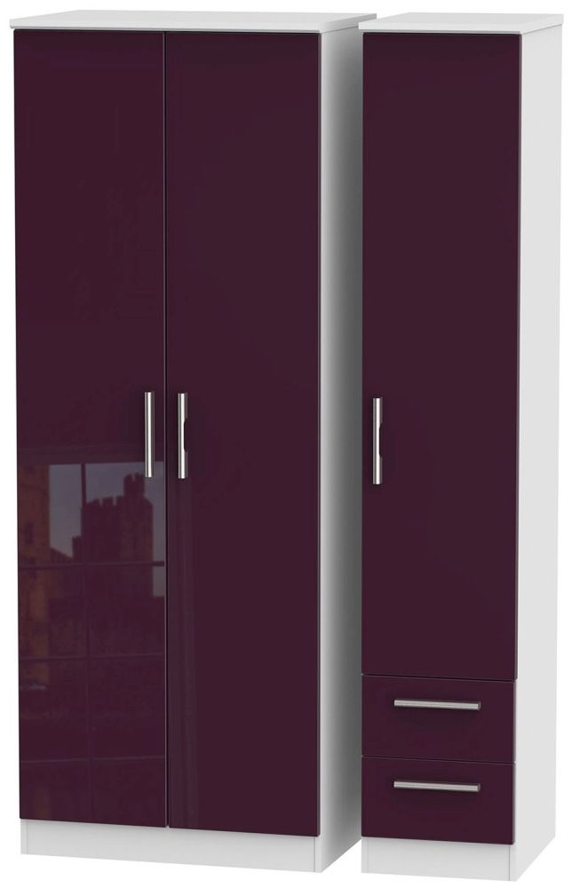 Knightsbridge High Gloss Aubergine and White Triple Wardrobe - Tall Plain with 2 Drawer
