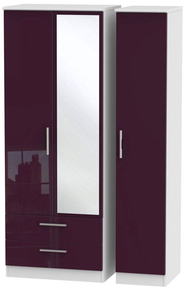 Knightsbridge High Gloss Aubergine and White Triple Wardrobe - Tall with 2 Drawer and Mirror