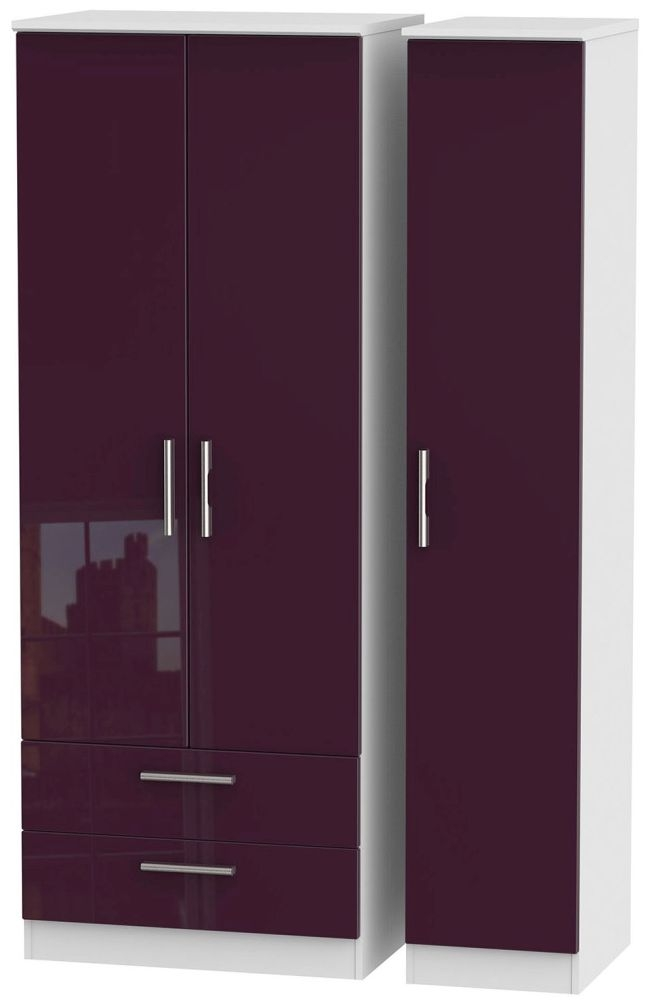 Knightsbridge High Gloss Aubergine and White Triple Wardrobe - Tall with 2 Drawer