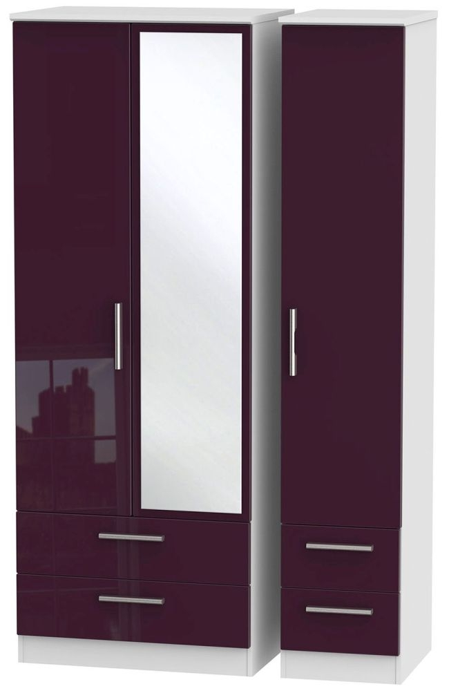 Knightsbridge High Gloss Aubergine and White Triple Wardrobe - Tall with Drawer and Mirror