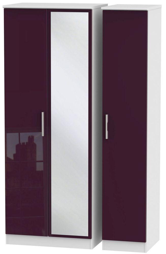 Knightsbridge High Gloss Aubergine and White Triple Wardrobe - Tall with Mirror