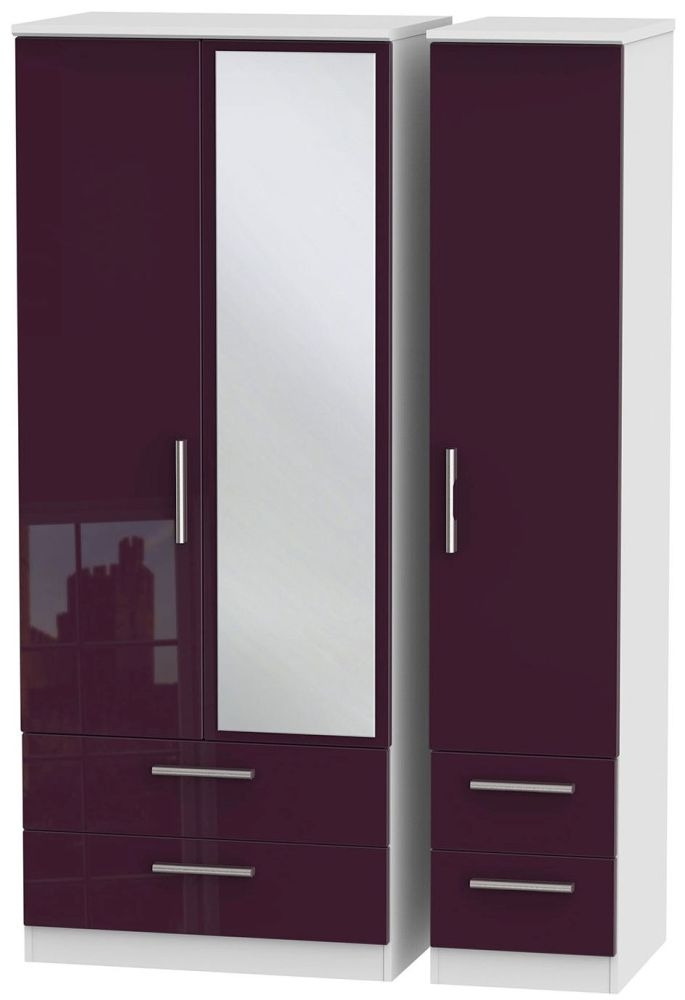 Knightsbridge High Gloss Aubergine and White Triple Wardrobe with Drawer and Mirror
