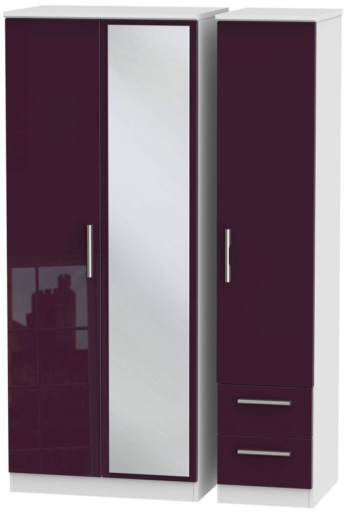 Knightsbridge High Gloss Aubergine and White Triple Wardrobe with Mirror and 2 Drawer