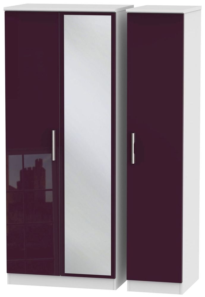 Knightsbridge High Gloss Aubergine and White Triple Wardrobe with Mirror
