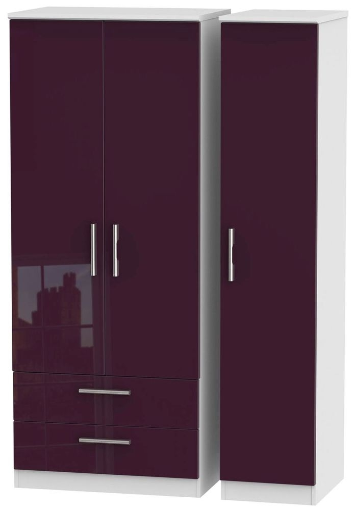 Knightsbridge High Gloss Aubergine and White Triple Wardrobe with 2 Drawer