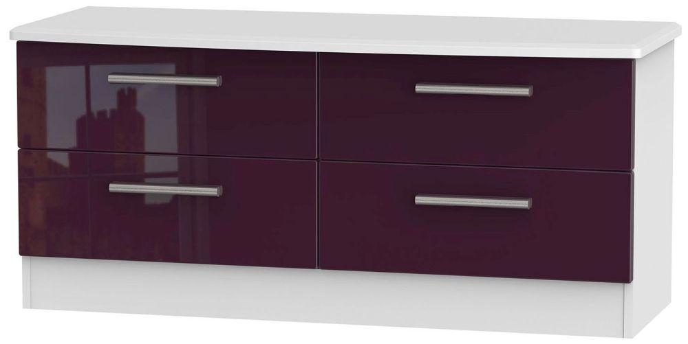 Knightsbridge High Gloss Aubergine and White Bed Box - 4 Drawer